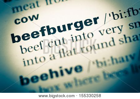 Close Up Of Old English Dictionary Page With Word Beefburger