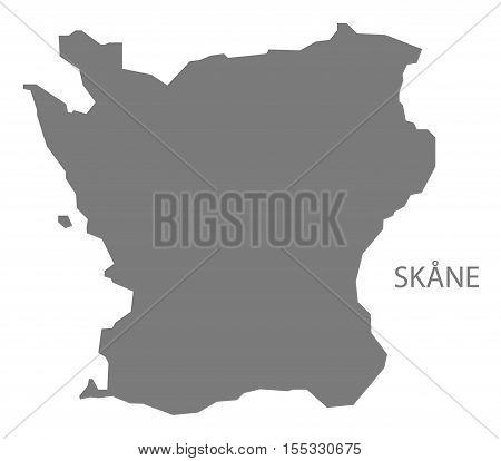 Skane Sweden Map grey vector illustration high res