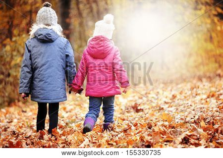 Two cute girls sisters walking on the leaves at the colorful autumn forest