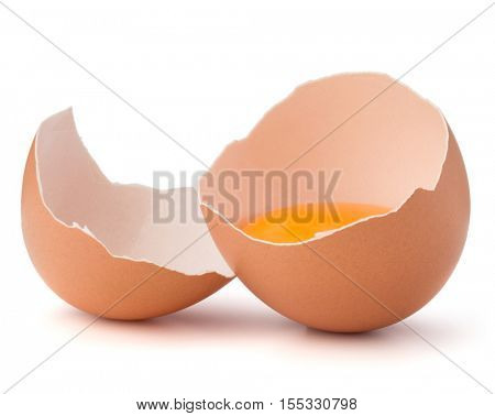 Broken egg  in eggshell half isolated on white background cutout