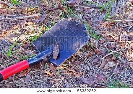 operating shovel for digging earth in the garden, in the country