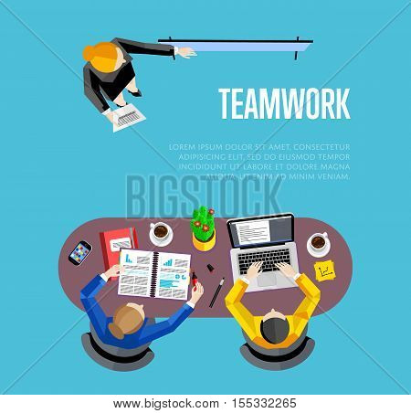 Top view teamwork business banner, vector illustration. Businesswoman making presentation near whiteboard to his colleagues at meeting. Board meeting in office. Collaboration and partnership concept
