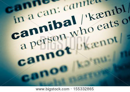 Close Up Of Old English Dictionary Page With Word Cannibal