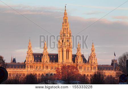 Vienna City Hall Wiener Rathaus Austria at sunset