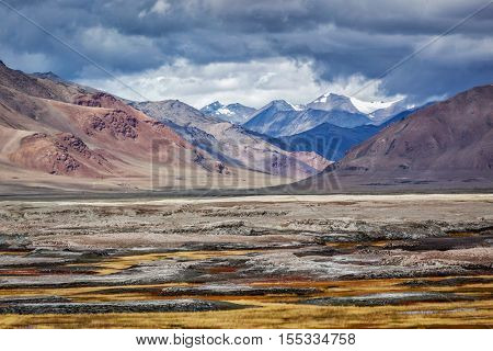 Landscape near Tso Kar - fluctuating salt lake in Himalayas. Rapshu,  Ladakh, Jammu and Kashmir, India