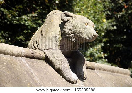 Cardiff, Wales, UK , September 14, 2016 :  Bear Sculpture from the Animal Wall of Cardiff Castle in Castle Street which is one of the cities most popular visitor attractions