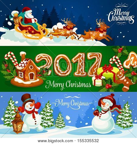 Christmas banner with Santa Claus flying on sleigh with reindeer, xmas gift, gingerbread house and man with holly berry and ginger cookie number 2017.