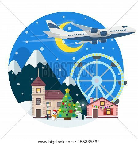 Merry Christmas round banner in flat style. Traveling in time of vacation by plane. Travel to UK. The winter holiday. The village, Christmas tree, ferris wheel in a flat style. Vector illustration