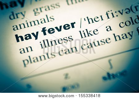 Close Up Of Old English Dictionary Page With Word Hay Fever