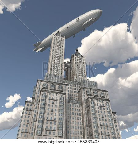 Computer generated 3D illustration with a Zeppelin over a skyscraper