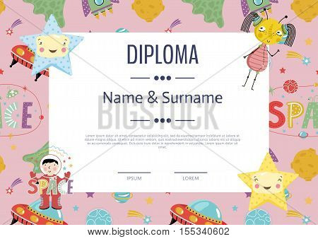 Kids diploma template preschool vector photo bigstock kids diploma template preschool elementary school kids diploma kids certificate or diploma layout yelopaper
