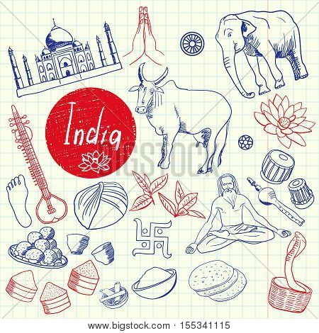 India associated symbols. Indian national, cultural, architectural, culinary, nature, historical, religious related hand drawn doodles vector set. Sketched asian icons