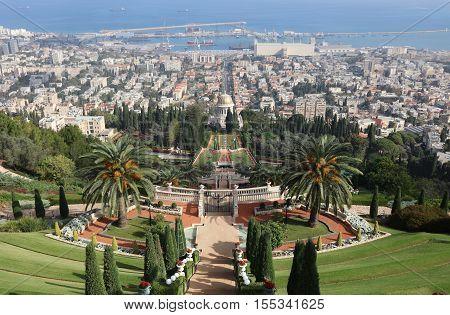 Bahai Garden Terraces  against Harbor. Haifa. Israel