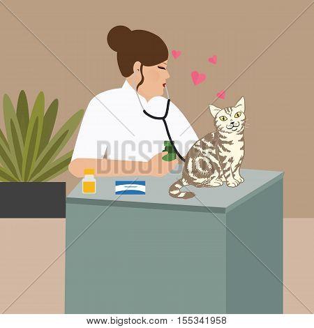 doctor cat veterinarian nurse examining cat vector