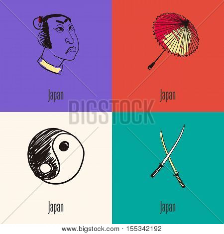 Japanese national symbols. Samurai face, paper umbrella, yin yang symbol, swords colored hand drawn doodle vector icons collection with caption. Country concept for travel company ad, web design