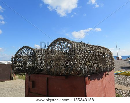 Lobster Pots On Beach