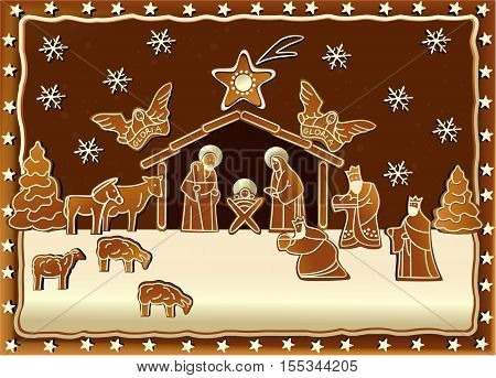 Christmas background with Nativity scene with Holy Family