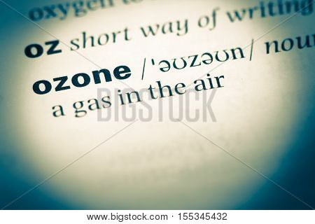 Close Up Of Old English Dictionary Page With Word Ozone