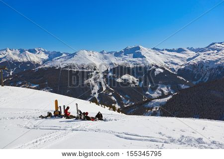 Skiers at mountains ski resort Bad Gastein Austria - nature and sport background