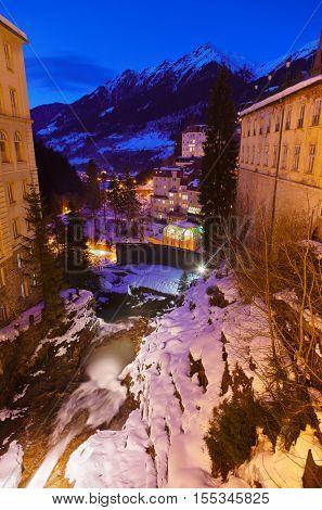 Waterfall in Mountains ski resort Bad Gastein Austria - nature background
