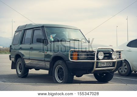 Sochi, Russia - October 12, 2016: Land Rover Discovery Off Road 4x4 parked. There have been two generations of the vehicle the first of which was introduced in 1989.