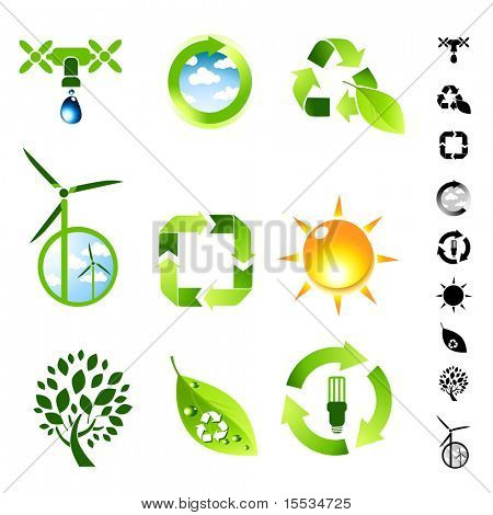 Green living vector icon set.
