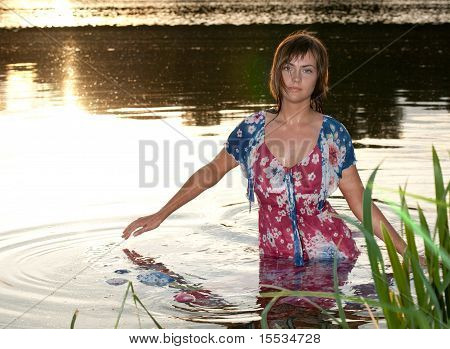 Young Woman Water Horizontal