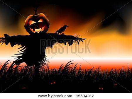 Halloween falls...Pumpkin head scarecrow awaits. Vector illustration.