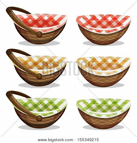 Illustration of a cartoon set of osier basket with handle striped towel for grocery shopping