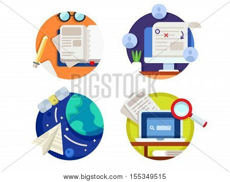 Creating and correcting articles. Finding information on internet. Vector illustration