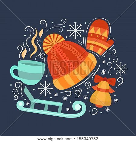 Vector concept with symbols of winter. Collection elements: winter hat mittens cup of hot drink sled bell and snowflakes. Merry Christmas design concept. Background for card banner flyer.