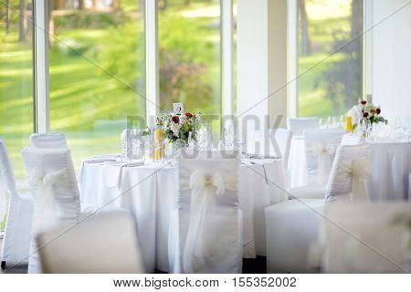 Beautiful Table Set For Some Festive Event, Party Or Wedding