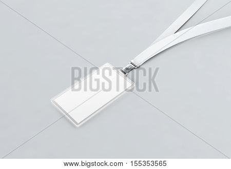 Blank name badge mockup 3d rendering. White cord ribbon and transparent plastic paper holder. Badge clipping path. Corporate design.
