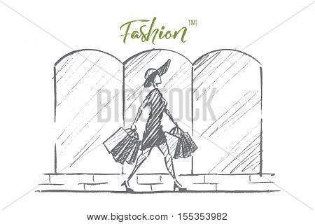 Vector hand drawn Fashion time concept sketch. Stylish woman in dress and hat walking alone with many shopping bags. Lettering Fashion time