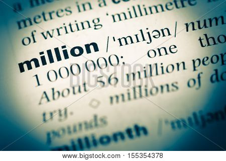 Close Up Of Old English Dictionary Page With Word Million