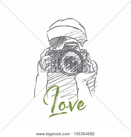 Vector hand drawn Love photo concept sketch. Young hipster girl holding camera and making photo. Lettering Love