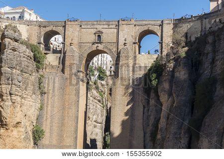 New Bridge over Guadalevin River in Ronda Malaga Spain. Popular landmark in the evening