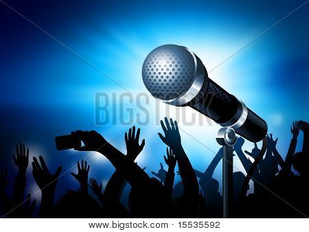 A microphone gleaming with an audience in the background. Vector illustration