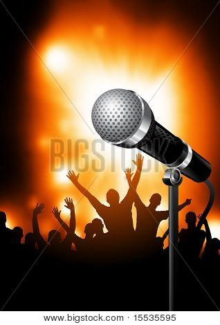 A microphone on stage with an audience of fans in the background. Vector illustration.