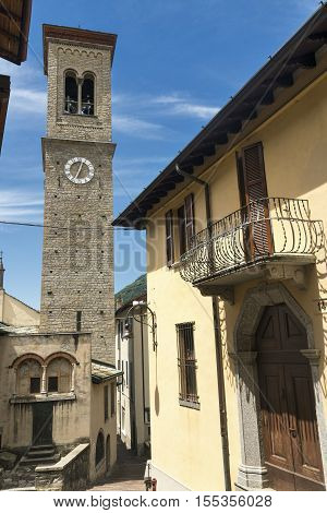 Torno (Como Lombardy Italy) old typical village along the Lario lake.. Church with its belfry