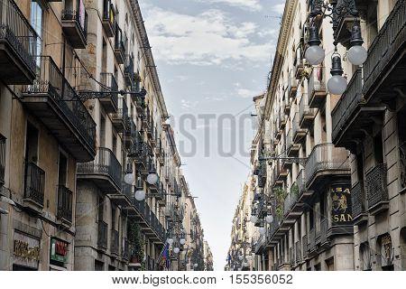 BARCELONA, SPAIN - JULY 11, 2016: Barcelona (Catalunya Spain): Carrer de Ferran old street near the Ramblas