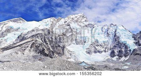 Nuptse mount in Sagarmatha National Park in the Nepal Himalaya. Hi-res panorama