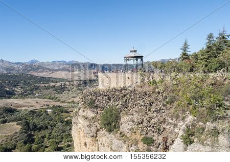 Romantic travellers viewpoint Ronda Malaga Spain Europe