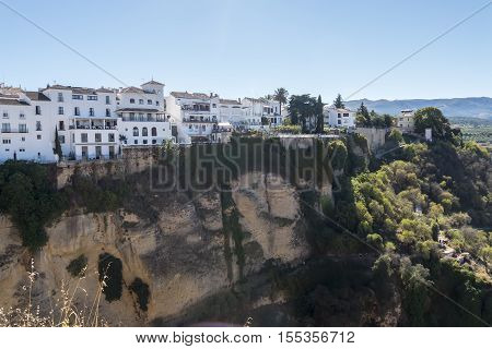 Tajo Gorge view on Ronda Spain old town cityscape