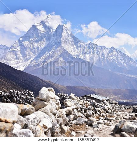 Mount Ama Dablam landscape in Himalaya, Nepal
