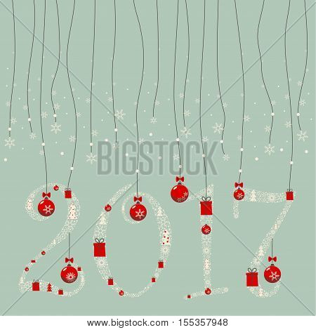 The design greeting cards for new year and Christmas. A garland of numbers 2,0,1,7 composed of Christmas paraphernalia: snowflakes ,Christmas gifts, Christmas decorations, Christmas trees.
