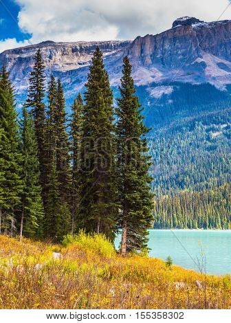 Emerald lake in the Rocky Mountains. The smooth turquoise water among the yellowed autumn forest. The concept of eco-tourism and active recreation