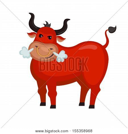 Angry red bull in flat style isolated on white background. Vector illustration. Farm animal. Cartoon bull.