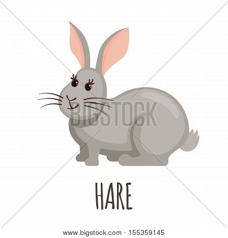 Cute Hare in flat style isolated on white background. Vector illustration. Farm animal icon. Cartoon Hare.