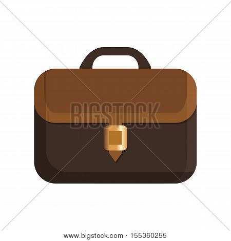 Icon brown leather briefcase. Vector illustration on white background